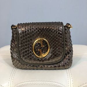 Gucci 1973 metallic Python mini evening bag